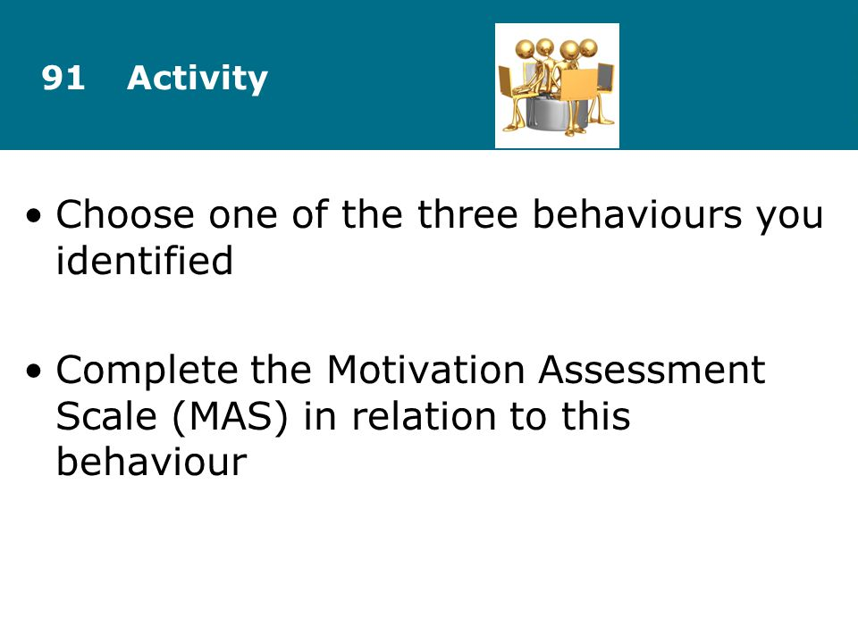 Choose one of the three behaviours you identified