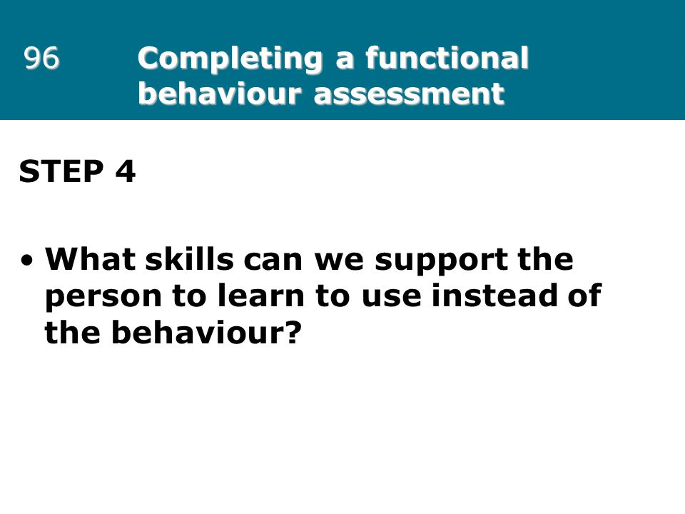 96 Completing a functional behaviour assessment