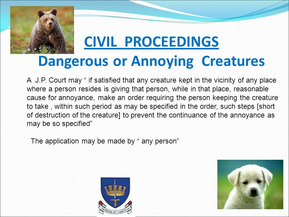 CIVIL PROCEEDINGS Dangerous or Annoying Creatures