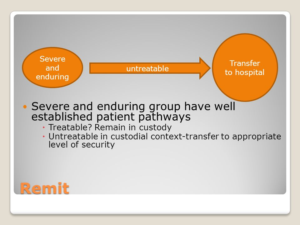 Remit Severe and enduring group have well established patient pathways