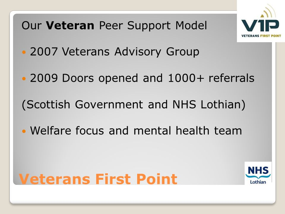 Veterans First Point Our Veteran Peer Support Model