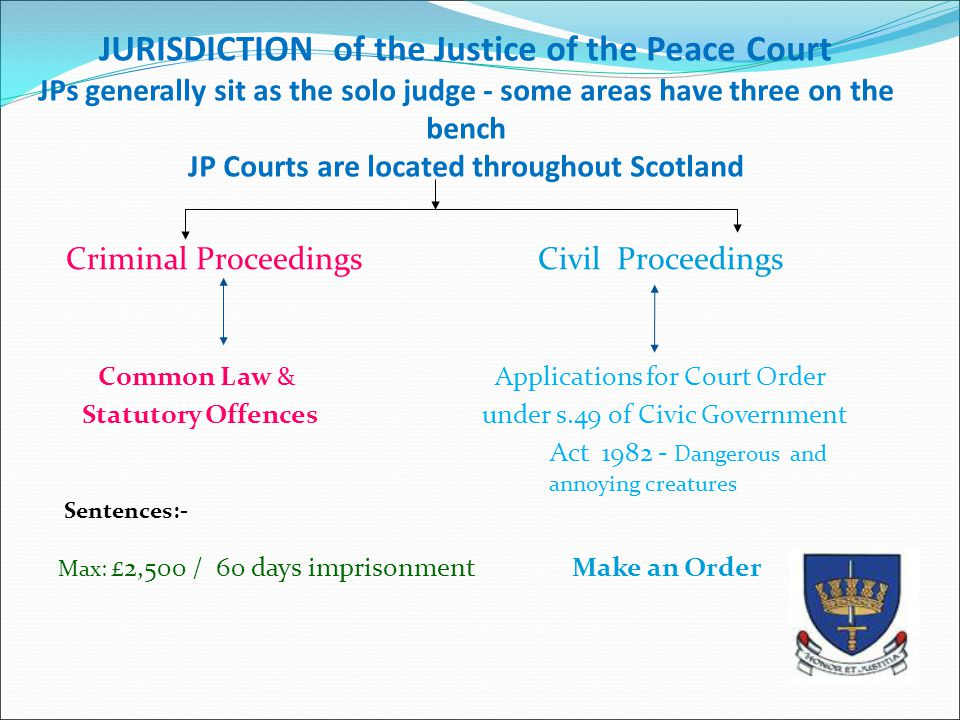 JURISDICTION of the Justice of the Peace Court JPs generally sit as the solo judge - some areas have three on the bench JP Courts are located throughout Scotland