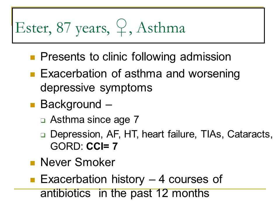 Ester, 87 years, ♀, Asthma Presents to clinic following admission