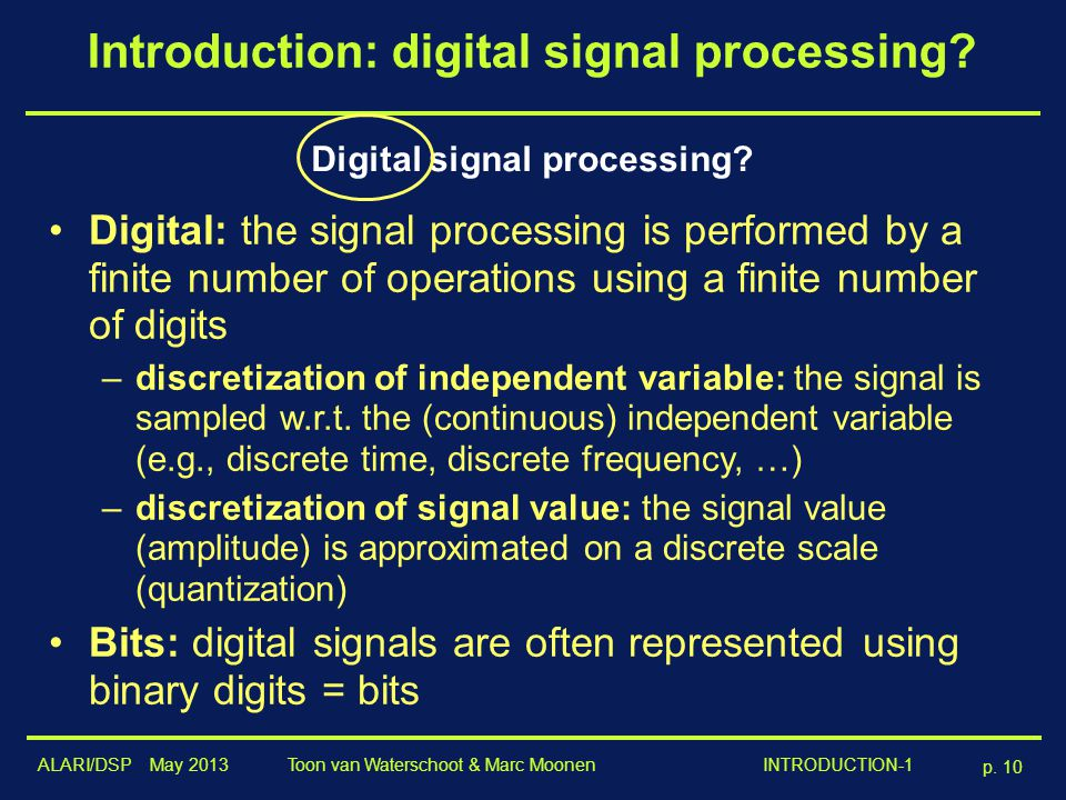 Introduction: digital signal processing