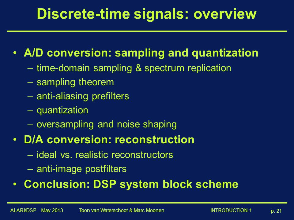 Discrete-time signals: overview