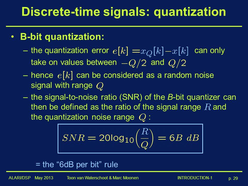 Discrete-time signals: quantization