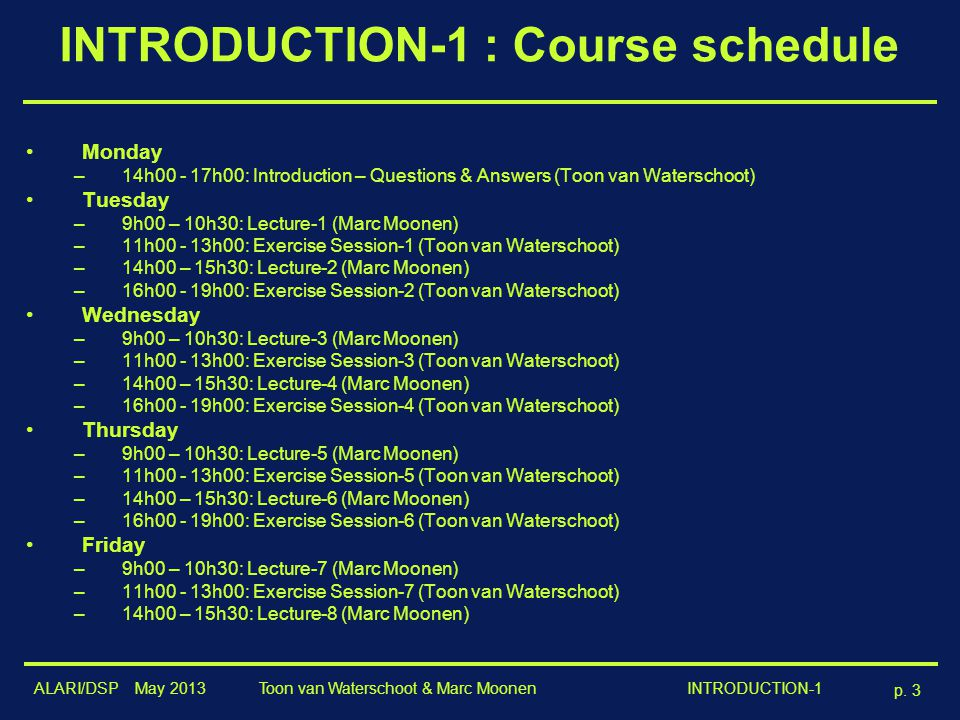 INTRODUCTION-1 : Course schedule