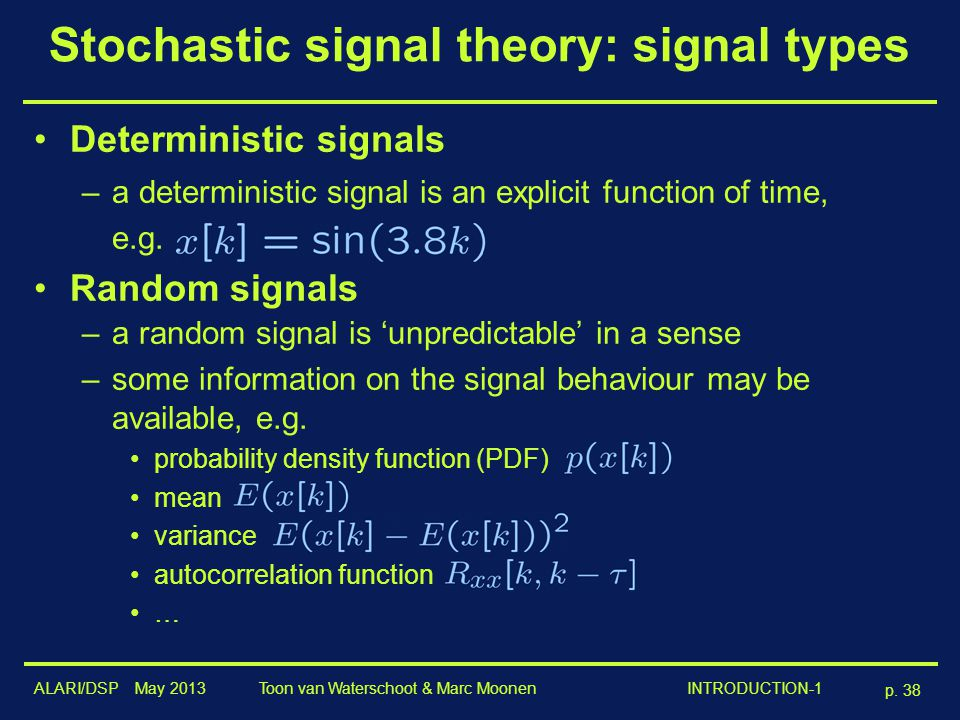 Stochastic signal theory: signal types