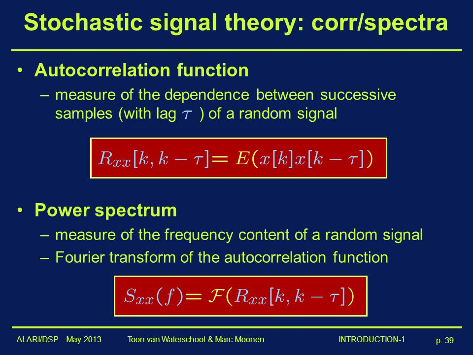 Stochastic signal theory: corr/spectra