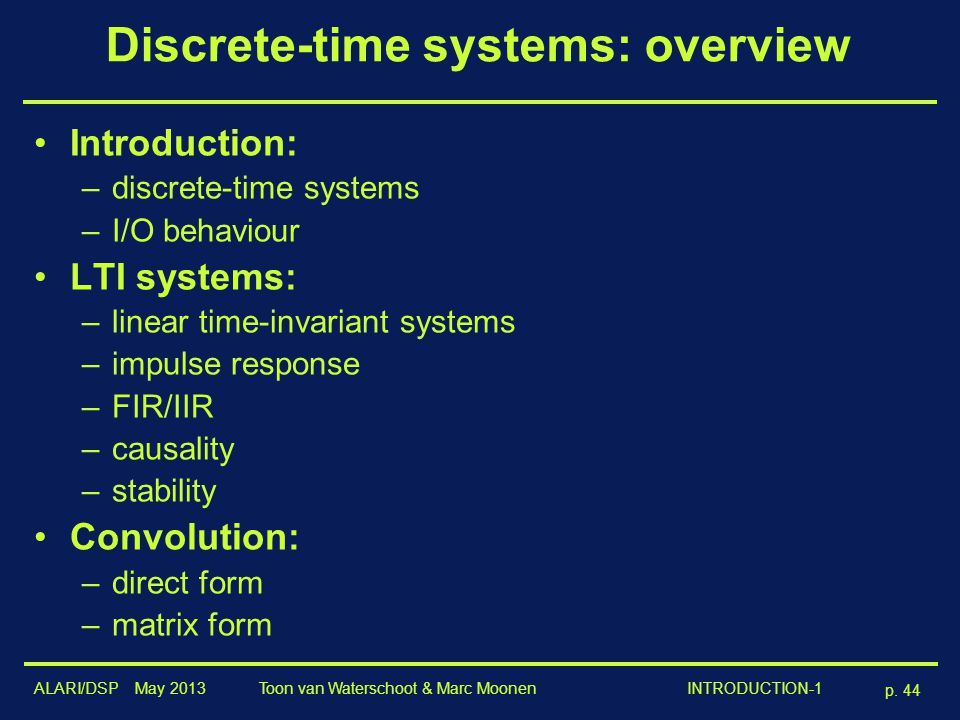 Discrete-time systems: overview