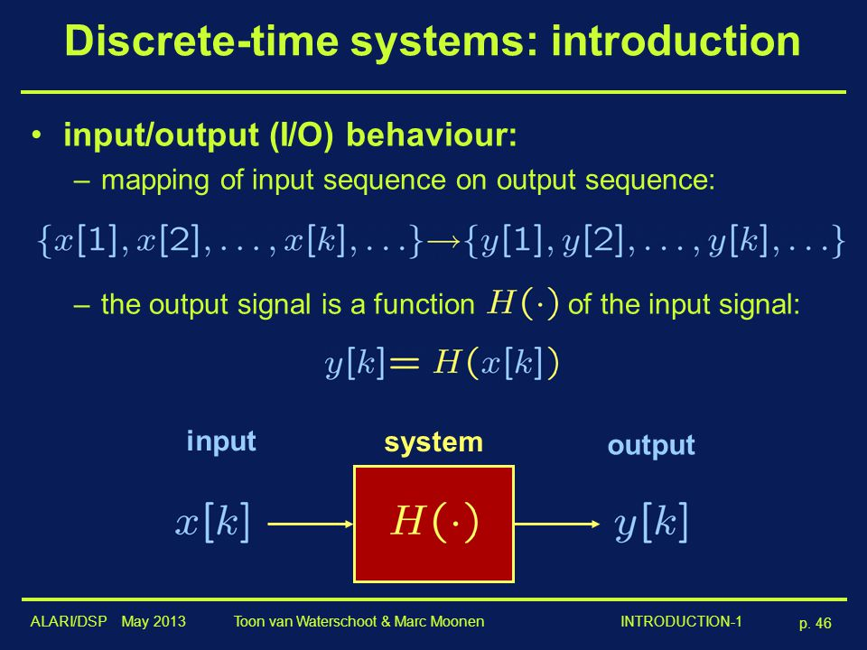 Discrete-time systems: introduction