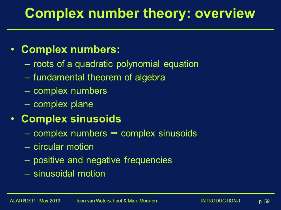 Complex number theory: overview