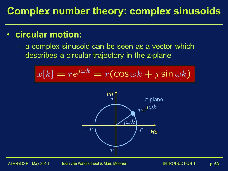 Complex number theory: complex sinusoids