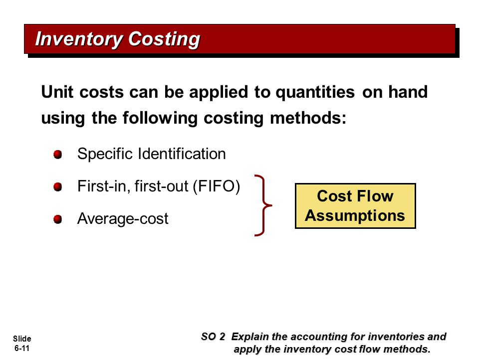 Inventory Costing Unit costs can be applied to quantities on hand using the following costing methods: