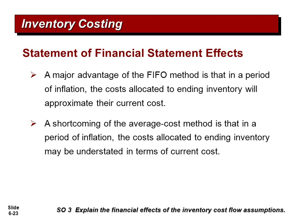 Inventory Costing Statement of Financial Statement Effects