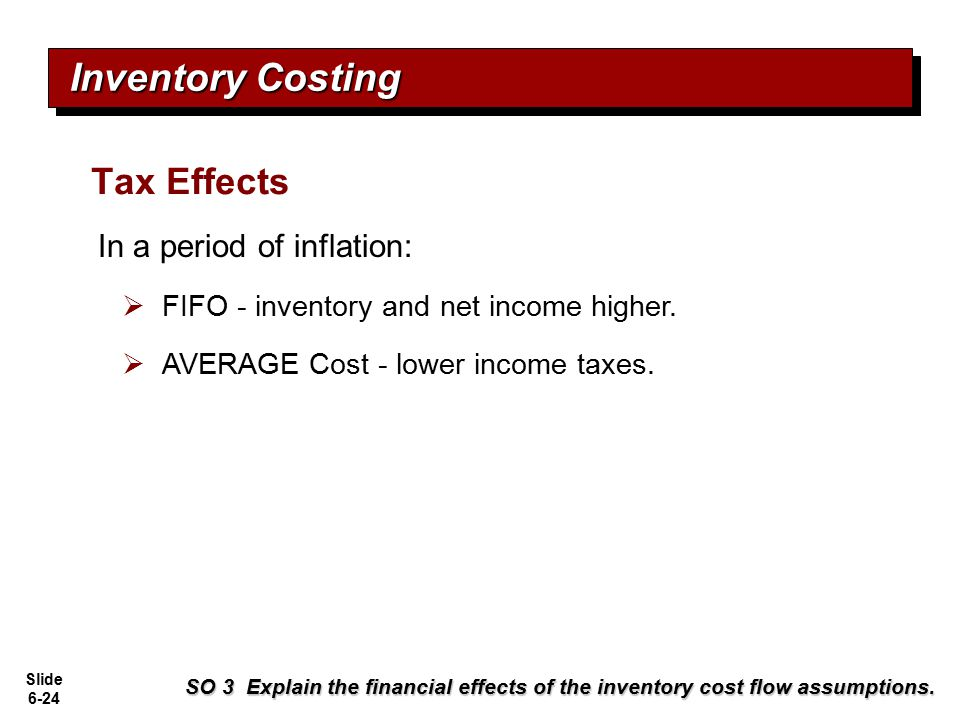 Inventory Costing Tax Effects In a period of inflation: