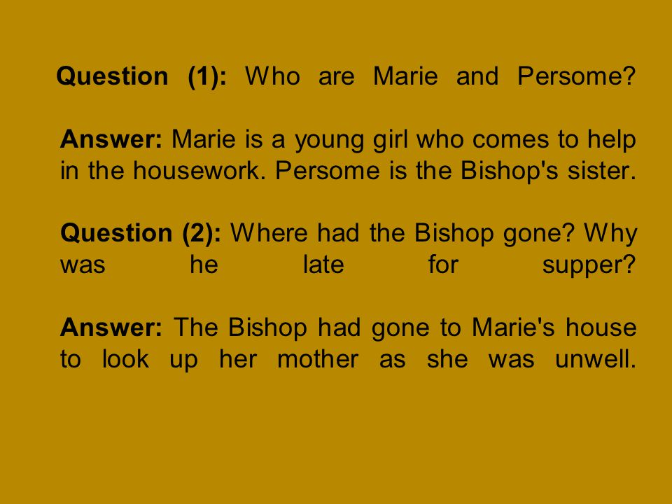 Question (1): Who are Marie and Persome
