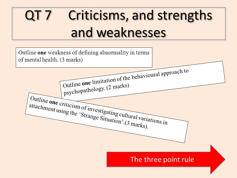 QT 7 Criticisms, and strengths and weaknesses