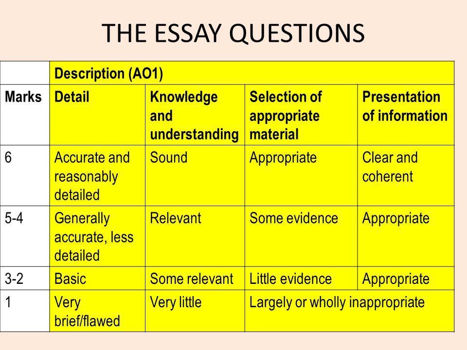 THE ESSAY QUESTIONS Description (AO1) Marks Detail