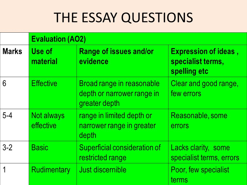 THE ESSAY QUESTIONS Evaluation (AO2) Marks Use of material
