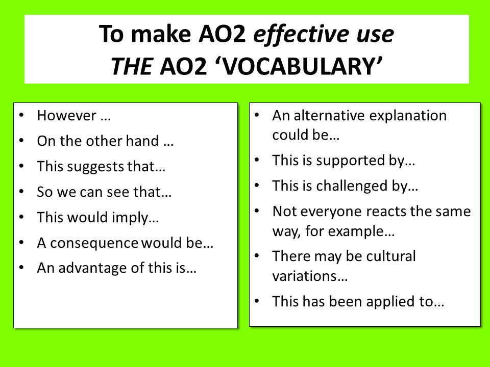 To make AO2 effective use THE AO2 'VOCABULARY'