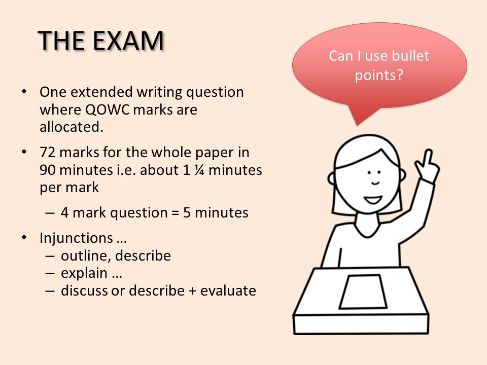 THE EXAM Can I use bullet points