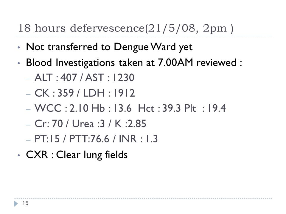 18 hours defervescence(21/5/08, 2pm )