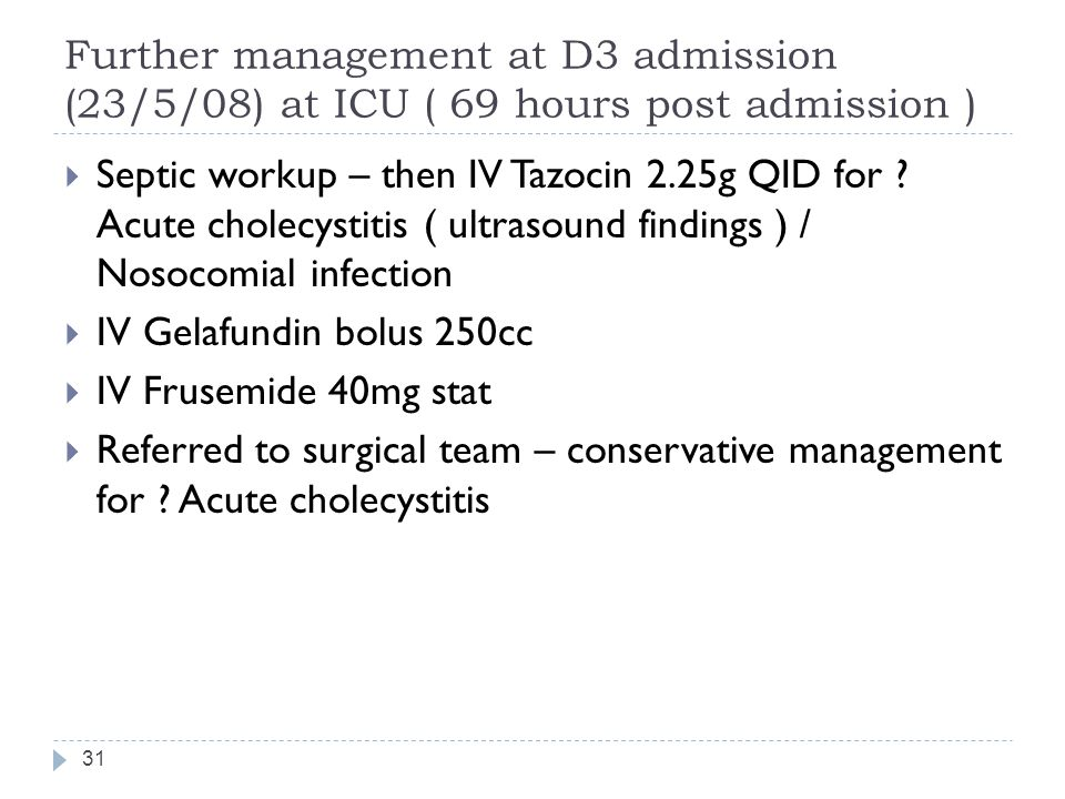 Further management at D3 admission (23/5/08) at ICU ( 69 hours post admission )