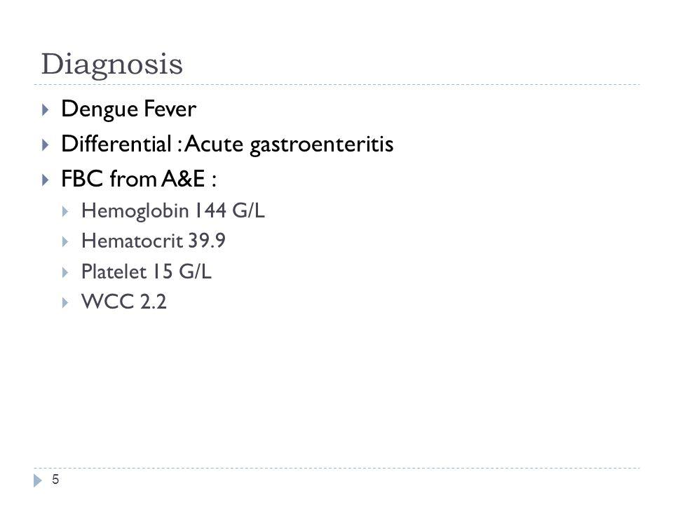 Diagnosis Dengue Fever Differential : Acute gastroenteritis