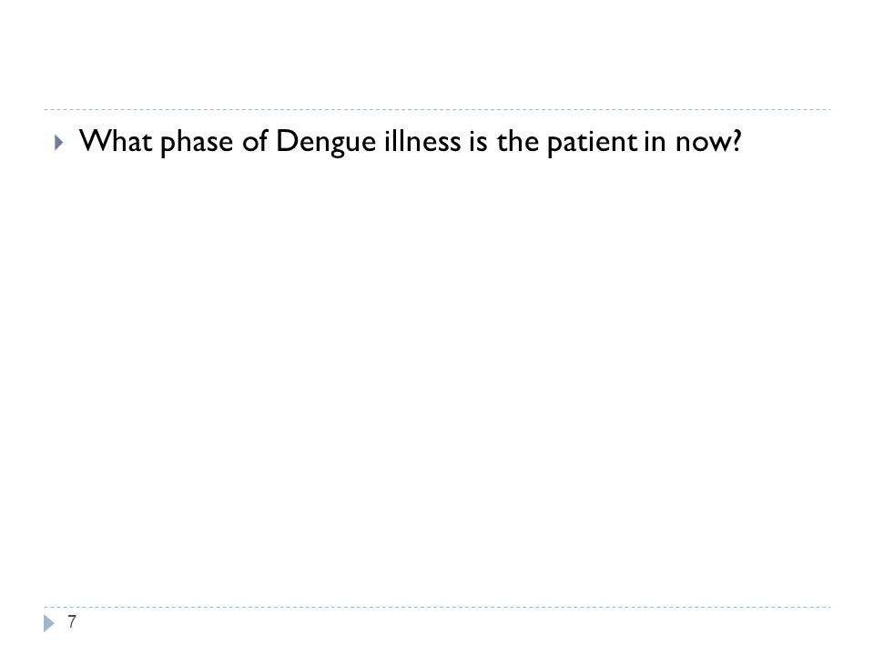 What phase of Dengue illness is the patient in now