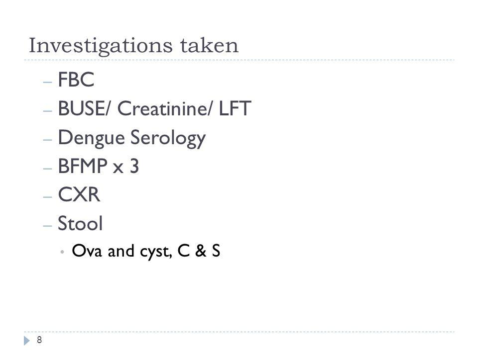 Investigations taken FBC BUSE/ Creatinine/ LFT Dengue Serology