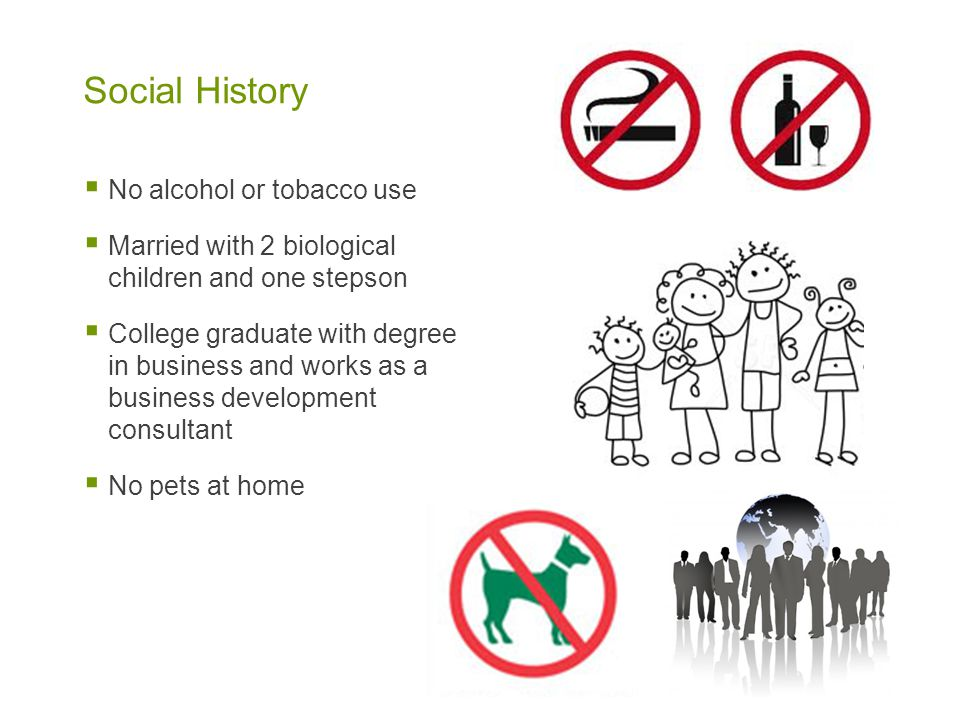 Social History No alcohol or tobacco use