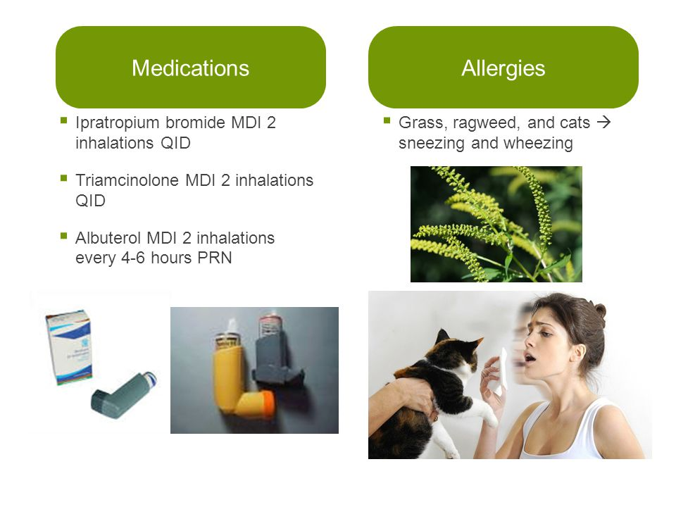 Medications Allergies Ipratropium bromide MDI 2 inhalations QID