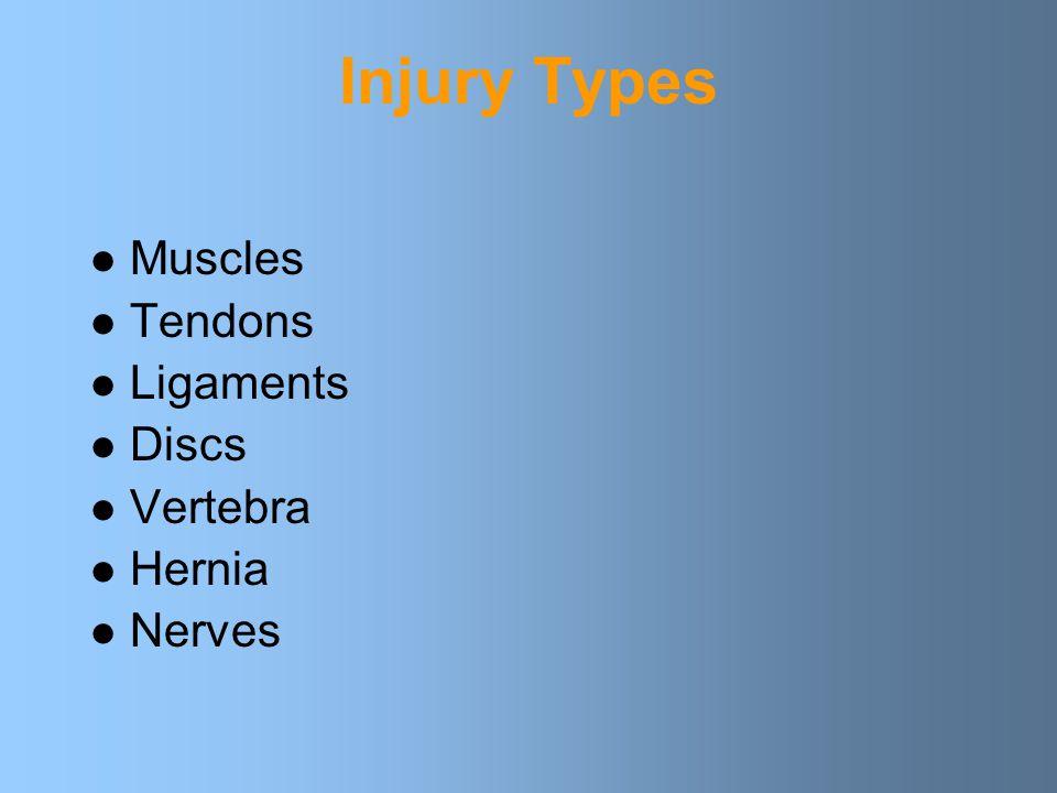 Injury Types Muscles Tendons Ligaments Discs Vertebra Hernia Nerves