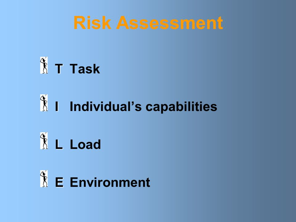 Risk Assessment T Task I Individual's capabilities L Load