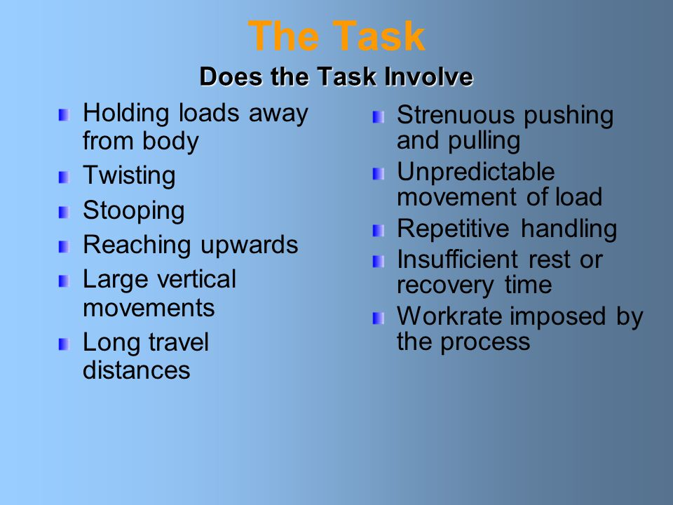 The Task Does the Task Involve