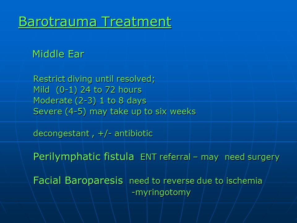 Barotrauma Treatment Middle Ear