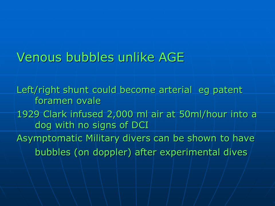 Venous bubbles unlike AGE