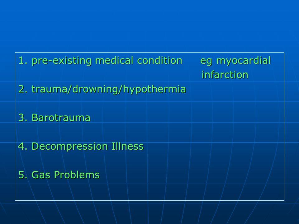 1. pre-existing medical condition eg myocardial
