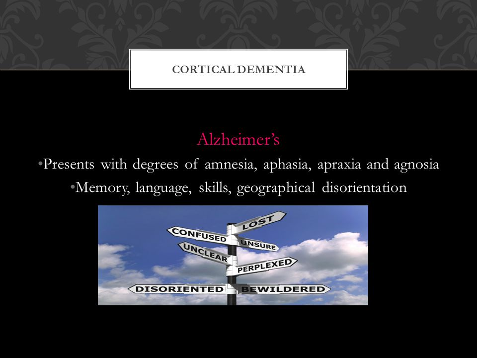 Cortical dementia Alzheimer's. Presents with degrees of amnesia, aphasia, apraxia and agnosia.