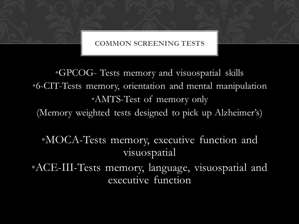 Common Screening tests