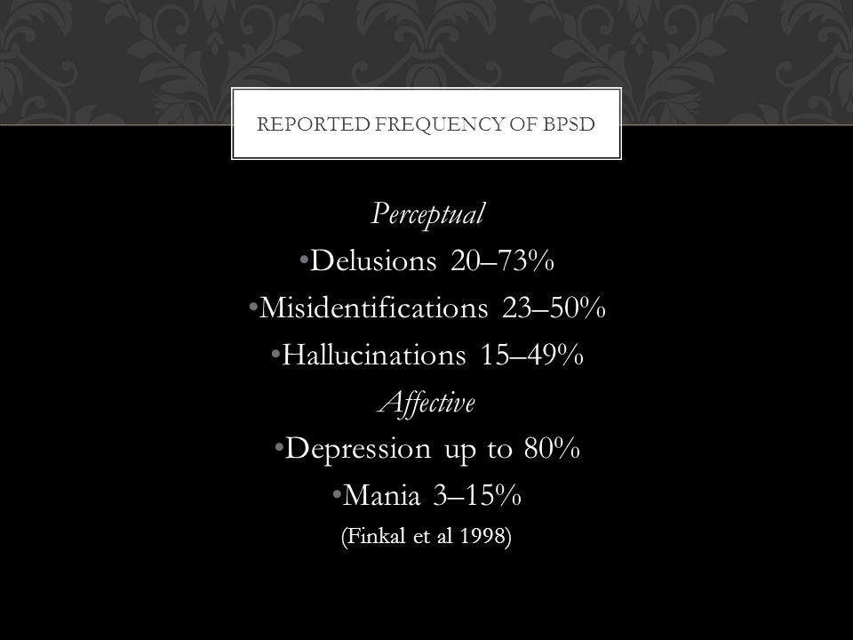 REPORTED FREQUENCY OF BPSD