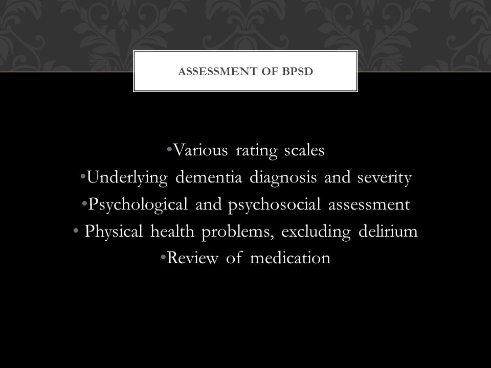 Underlying dementia diagnosis and severity
