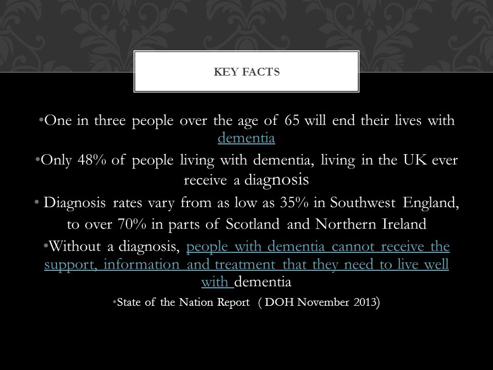 Diagnosis rates vary from as low as 35% in Southwest England,