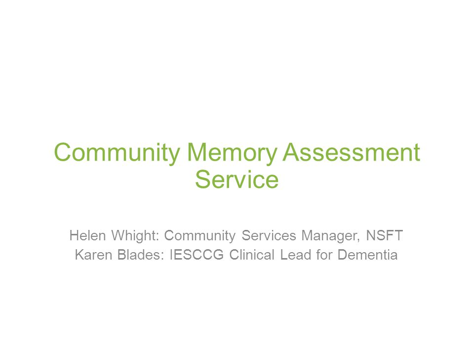 Community Memory Assessment Service