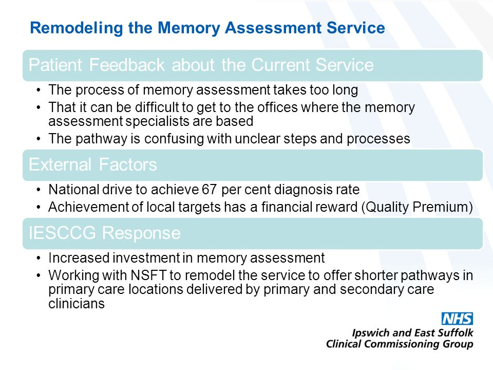 Remodeling the Memory Assessment Service