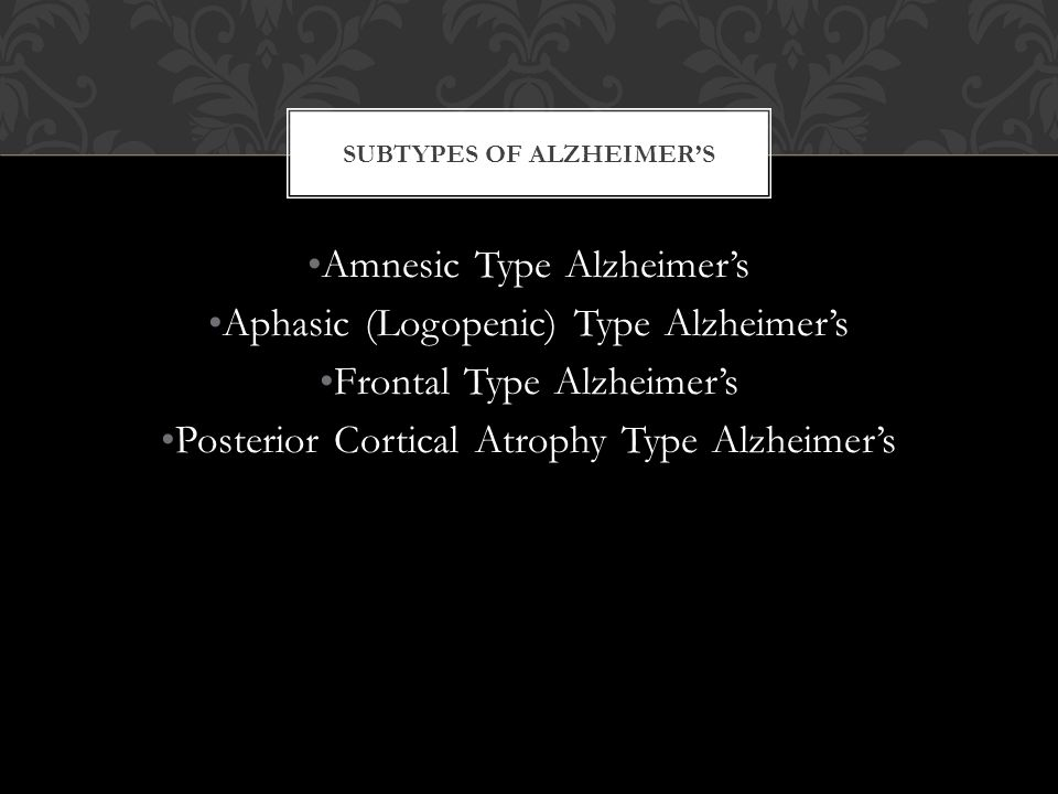 Subtypes of Alzheimer's