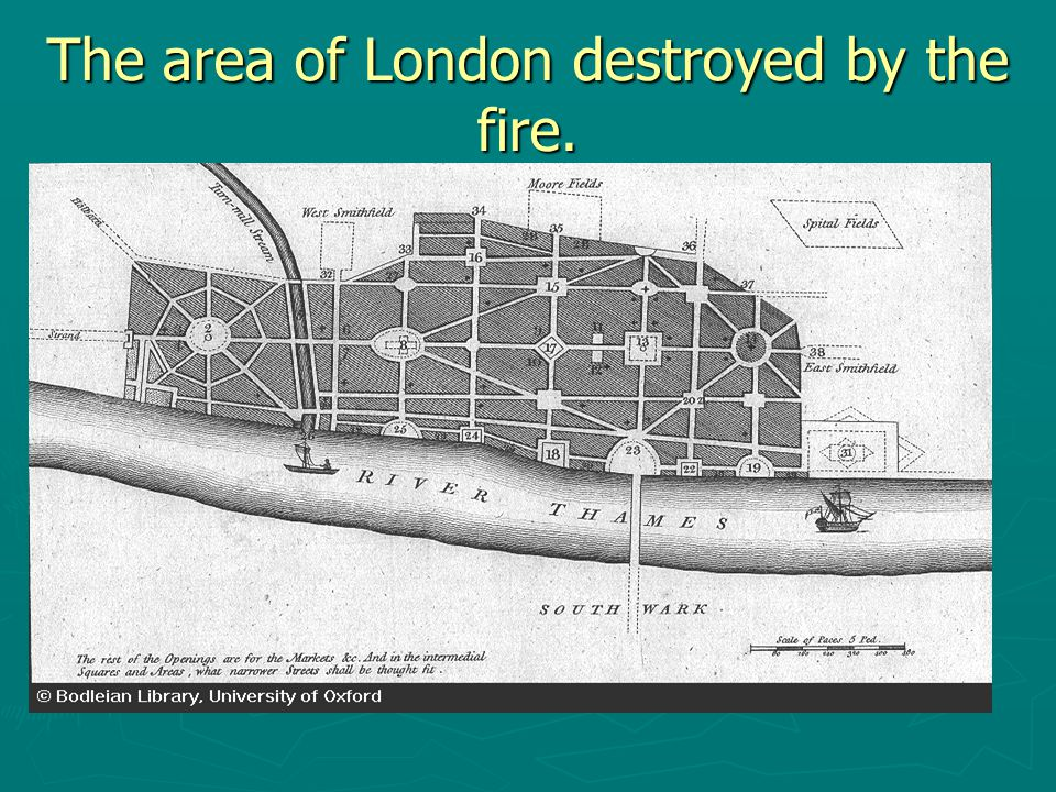 The area of London destroyed by the fire.