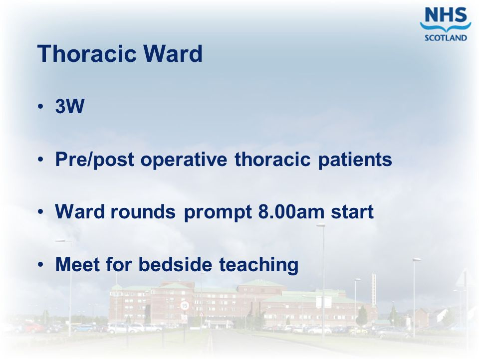 Thoracic Ward 3W Pre/post operative thoracic patients