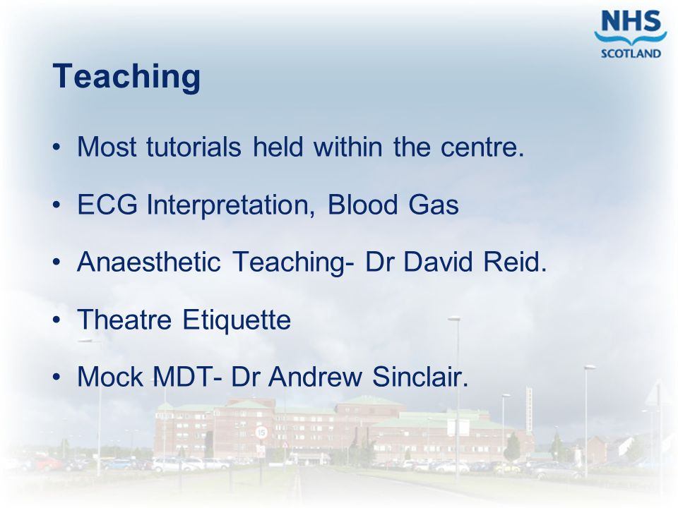 Teaching Most tutorials held within the centre.